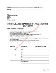 2017 KCSE Trial Exam Set 3 COMPUTER STUDIES 2017 PAPER 1